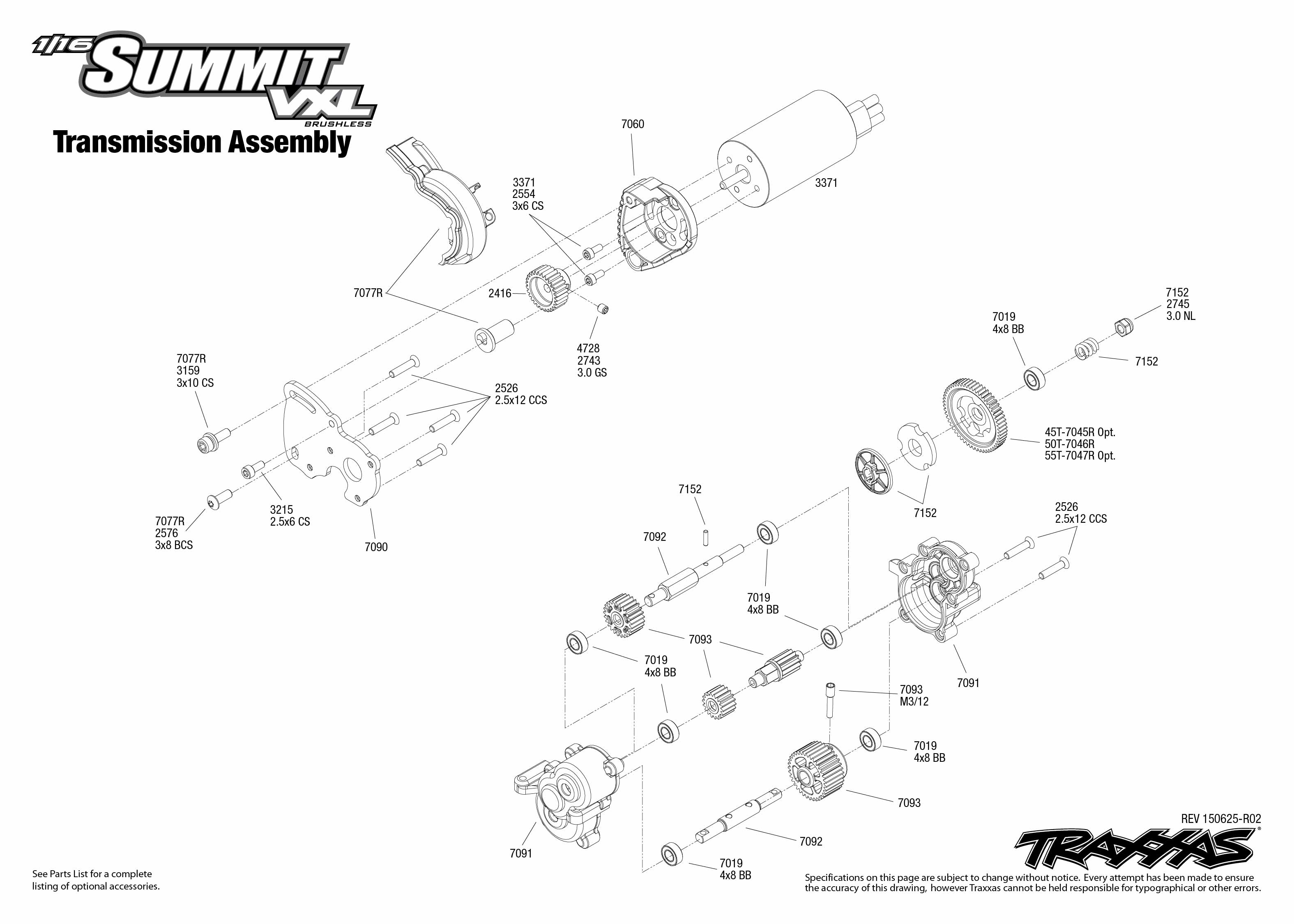 1 16 Summit Vxl 1 Transmission Assembly Exploded