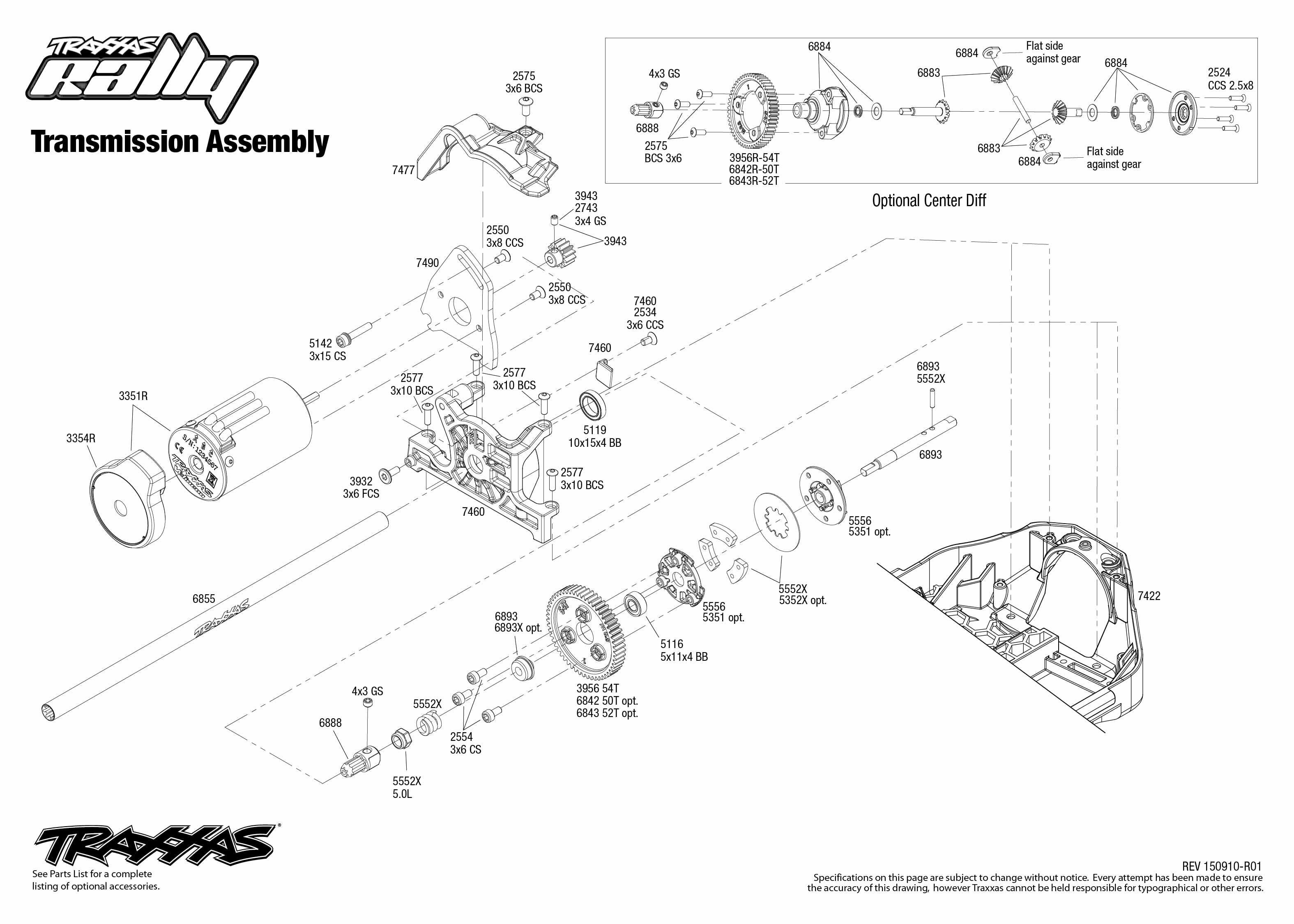 Rally 1 Transmission Assembly Exploded View