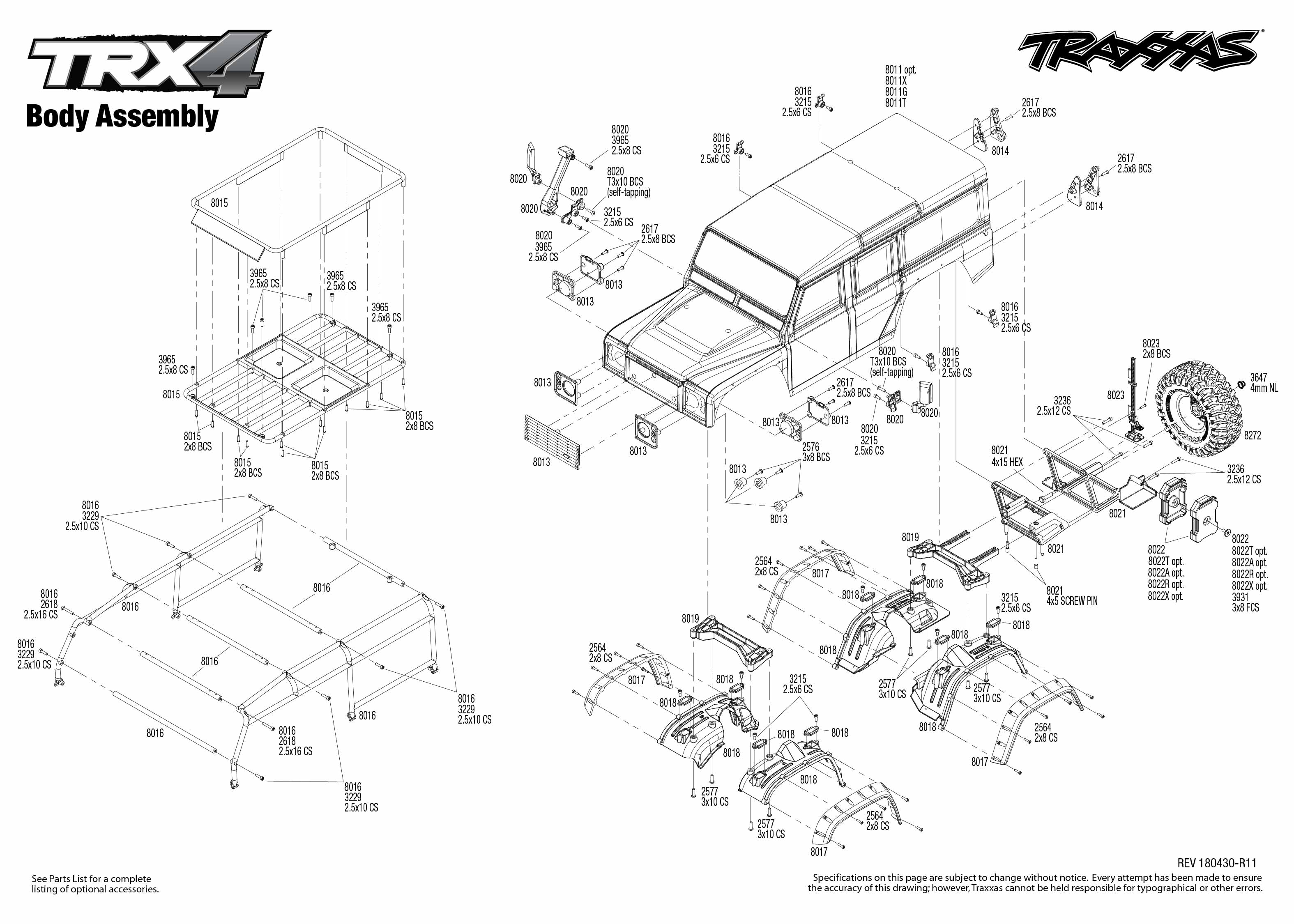 Trx 4 Scale And Trail Crawler 4 Body Assembly