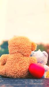 Teddy Bears With Red Heart iPhone XS Max Wallpapers