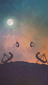 Jumping Couples Moon Light Night iPhone Wallpapers