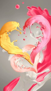 Pink and Yellow Paint Heart Samsung Galaxy J2 Core HD Wallpapers