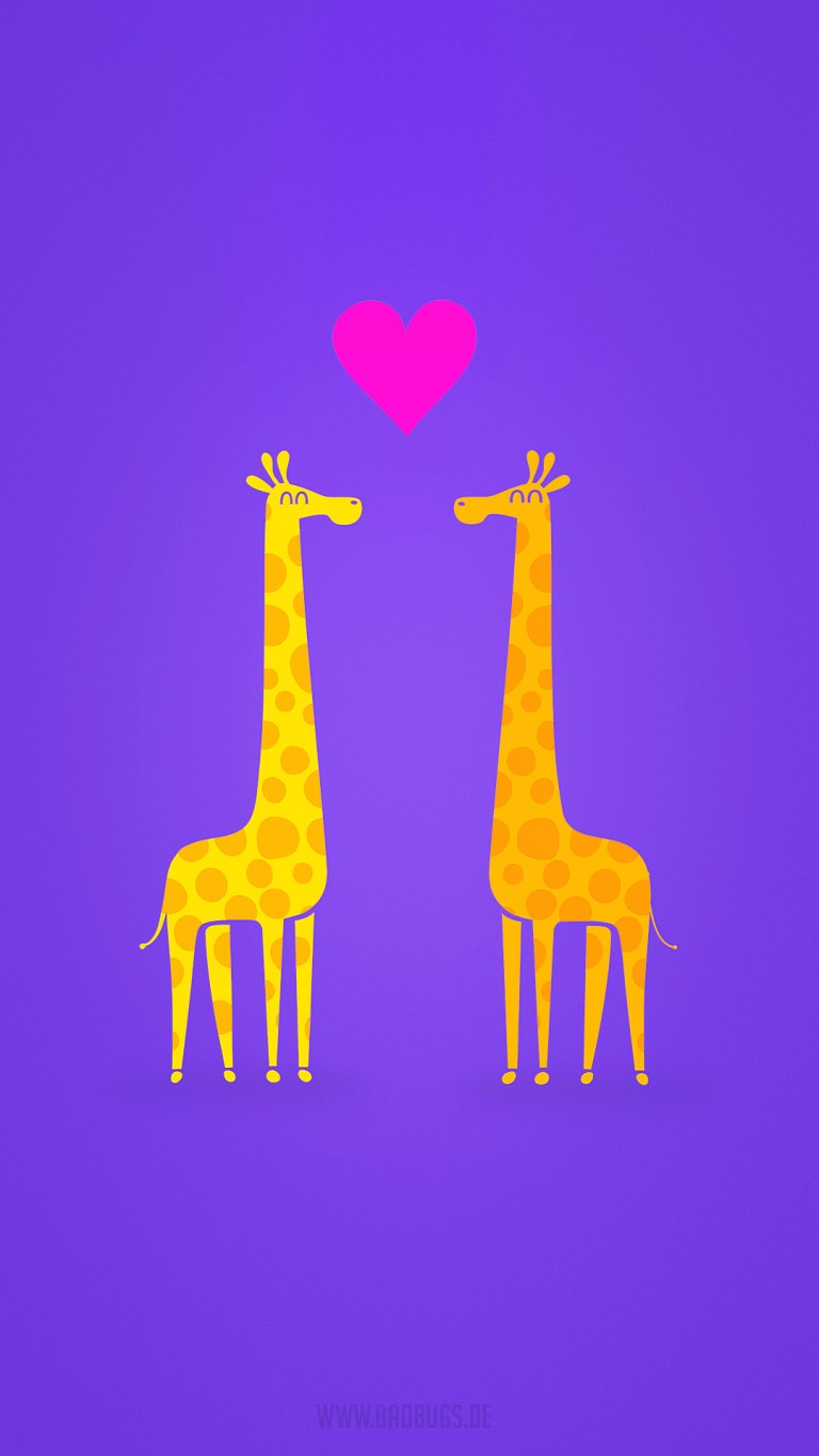 Giraffe Couple in Love Minimal iPhone 4K Wallpapers