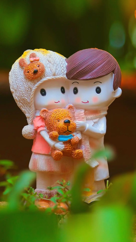 Couples With Teddy Statute Love HD iOS 14 FHD Wallpapers