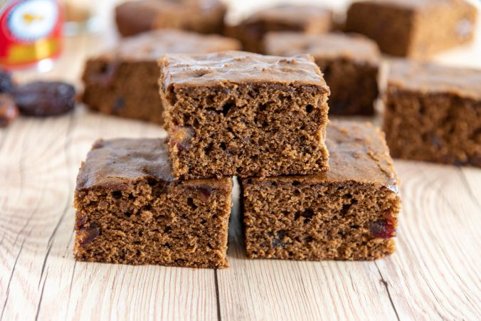 Stacked squares of Date and Ginger Slab traybake