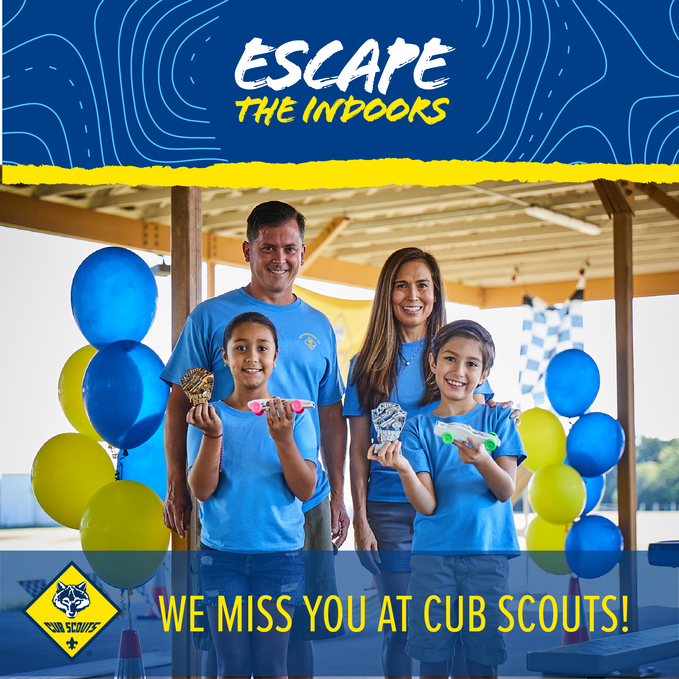 Escape The Indoors Win back social media image - Welcome Back - We miss you at Cub Scouts!