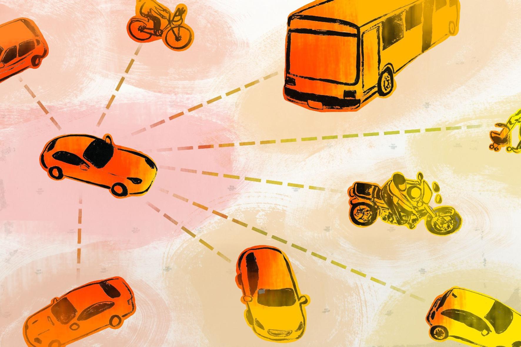 Eine Zeichnung mit Kraftfahrzeugen zum Thema E-Mobilität
