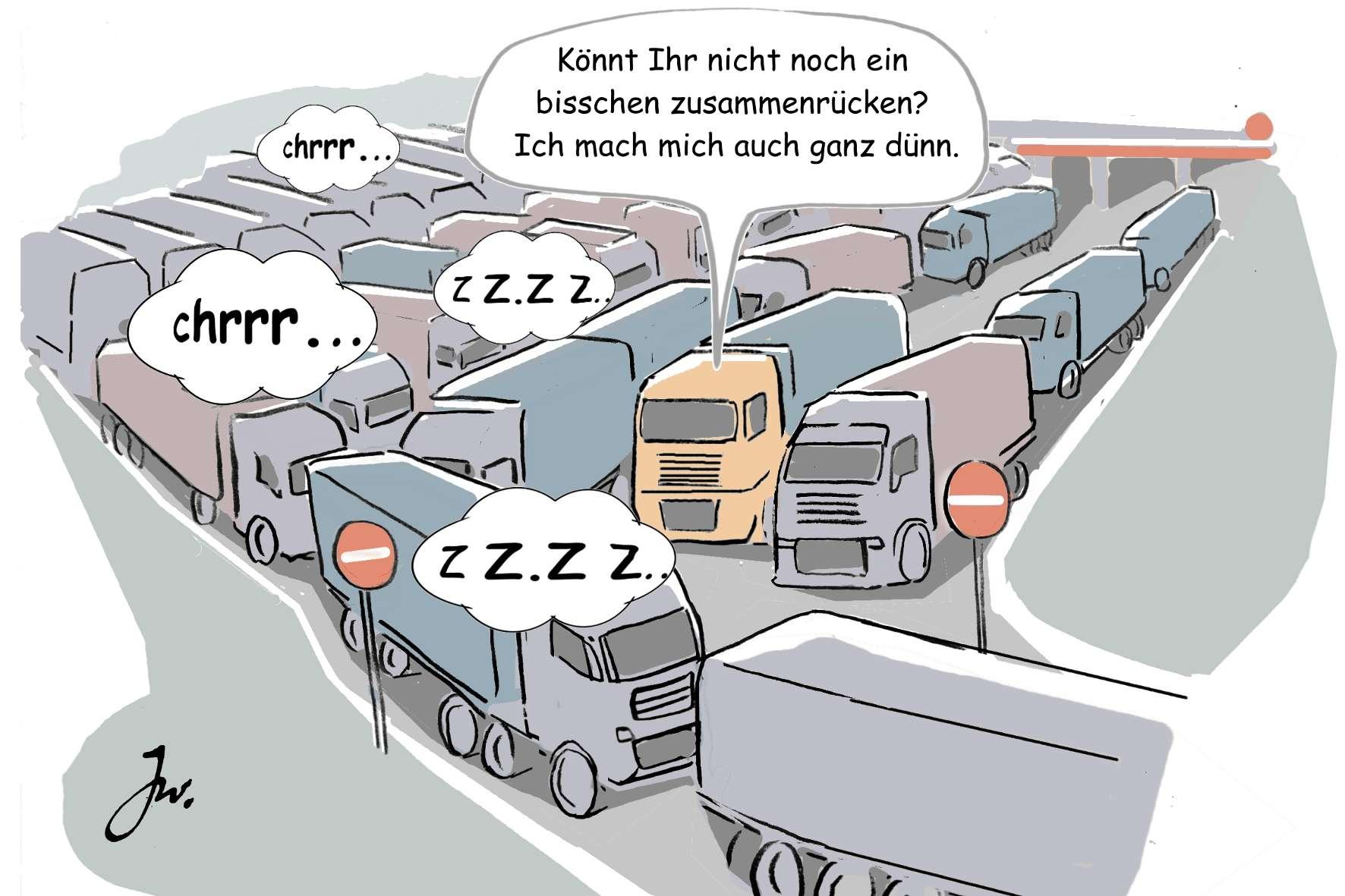 Lkw-Parkraumpotenziale neben der Autobahn bleiben bislang oft unbeachtet