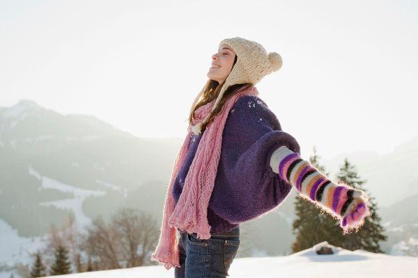 Winterschaft und Vitamine Frau