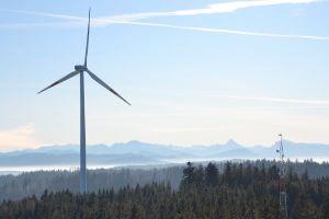 Ein Windrad in waldreicher Landschaft