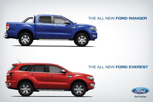 Un aperçu à l'échelle des deux engins en versions civiles (Image Ford Nouvelle-Zélande).