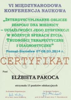 Certyfikat Eli - Konferencja PTTMMH 2