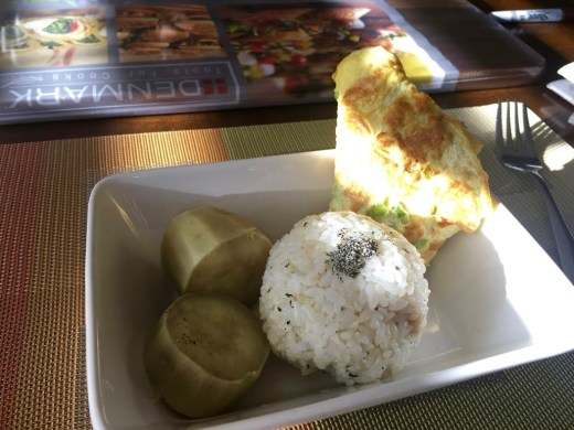 yams, rice ball and scallion omelette
