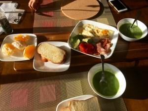Broccoli soup, bread, bacon, tangerines, avocado, egg and tomatoes