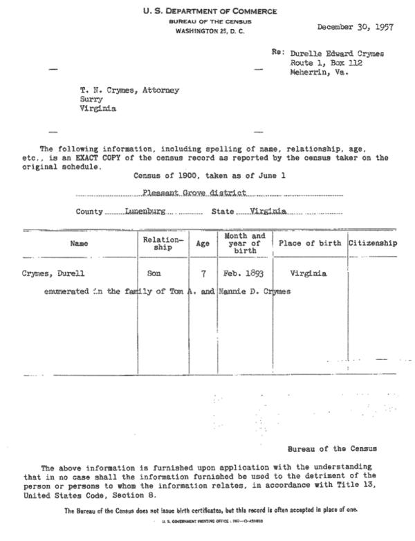 A 1900 census report