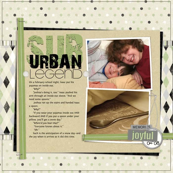 Using Narrative in Scrapbook pages: Suburban Legend from Debbie Hodge