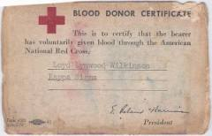 Blood donor card