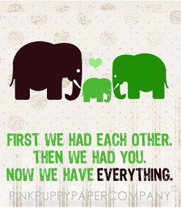 Elephants becoming a family