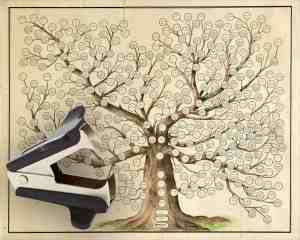 Cousin once removed by way of staple remover on family tree.