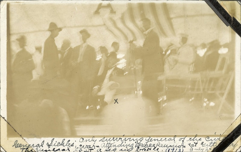Photo of General Sickles at the 1913 Gettysburg Reunion