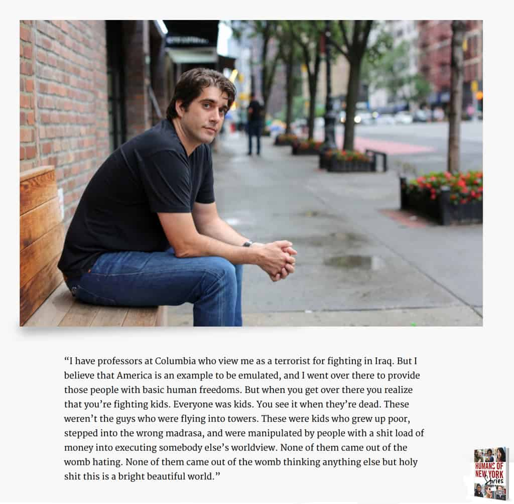 Screen shot from Humans of New York Webpage