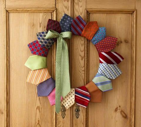 Necktie wreath from Quilters digest
