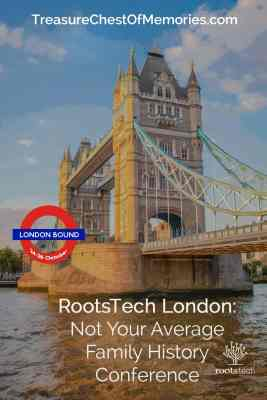 RootsTech London pinnable graphic with Tower bridge in background