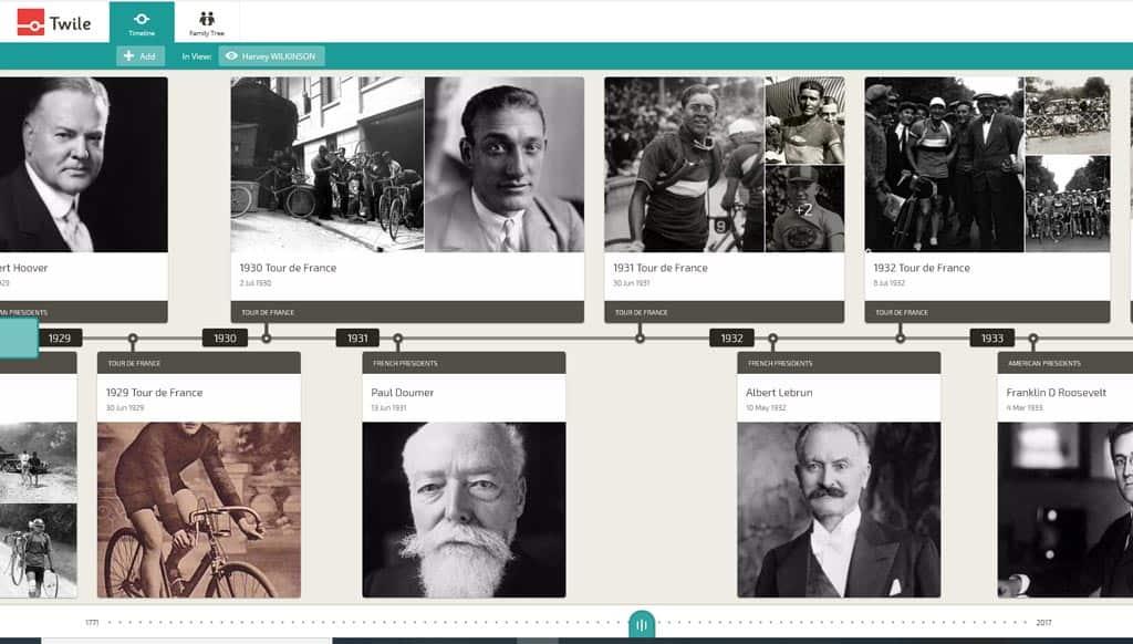 Screenshot Twile Timeline for an ancestor