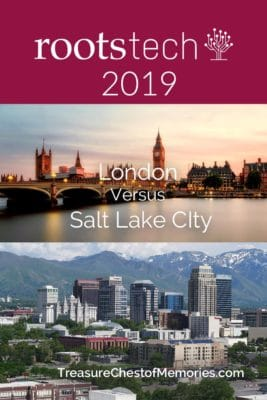 RootsTech London versus RootsTech Salt Lake City Pinnable Image