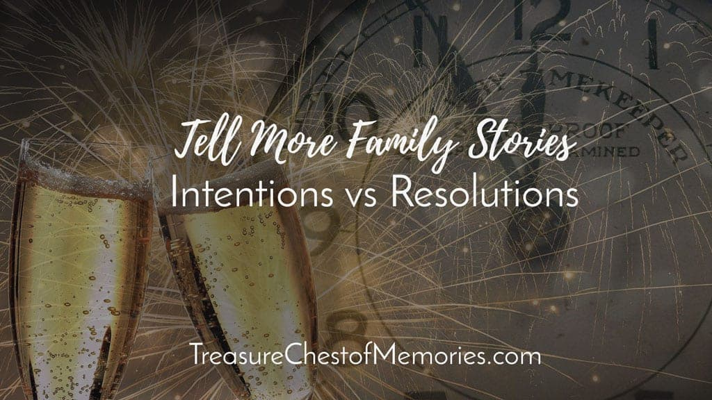 Intentions versus Resolutions graphic with champagne glasses and clock