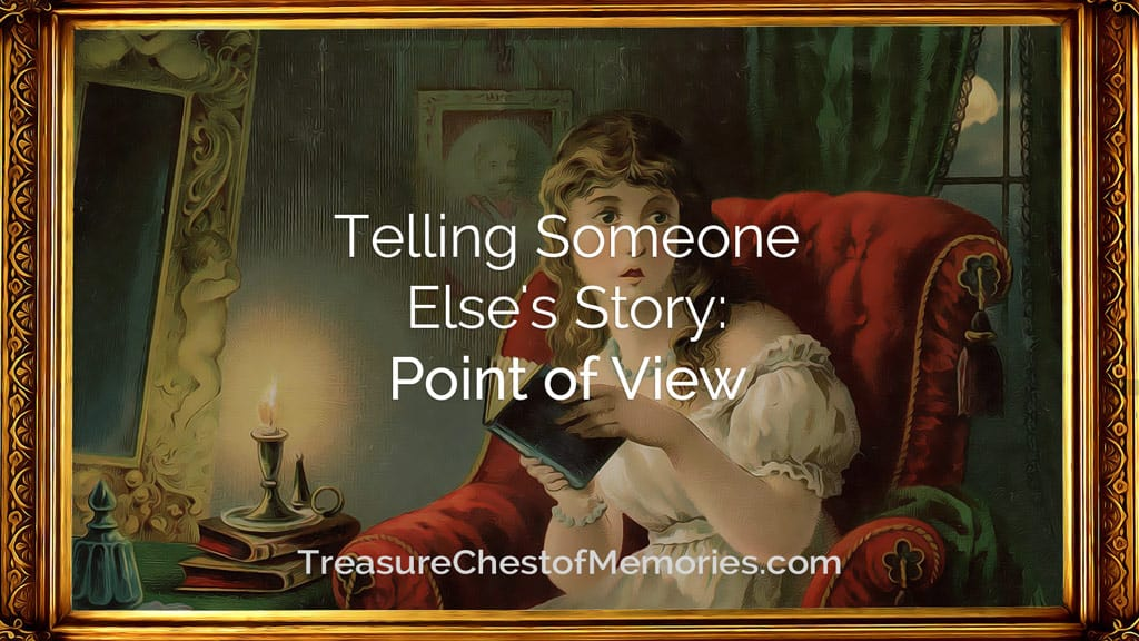 Headline Graphic telling someone else's story Point of view with a girl reading