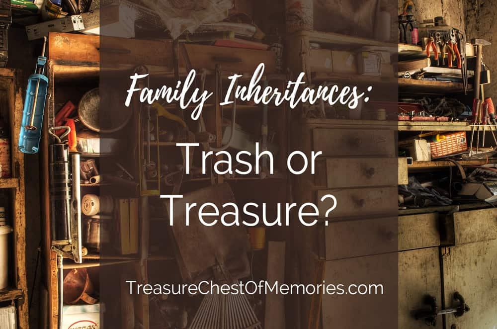 Trash or treasure graphic with words over antique items