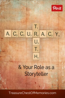 Truth and Accuracy pinnable graphic with Scrabble Tiles