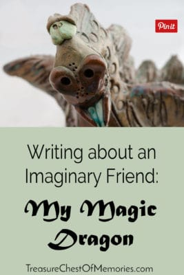 Writing about an imaginary friend pinnable graphic with face of a dragon