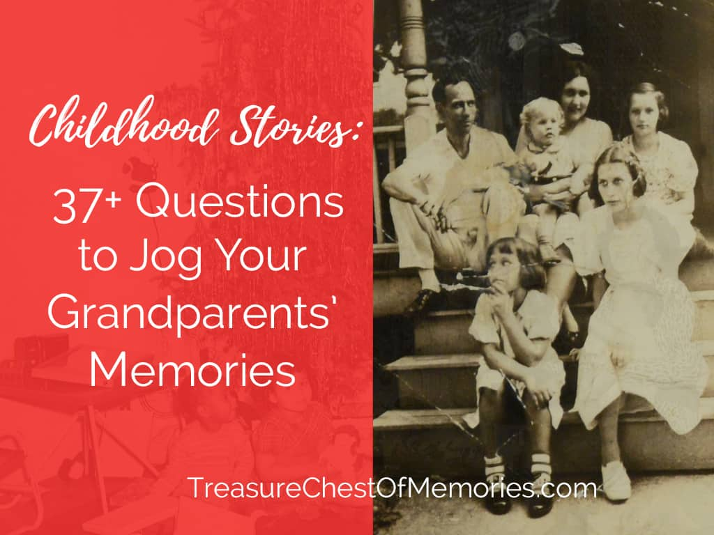 Jog Your Grandparents' Memories Graphic with a family on front steps