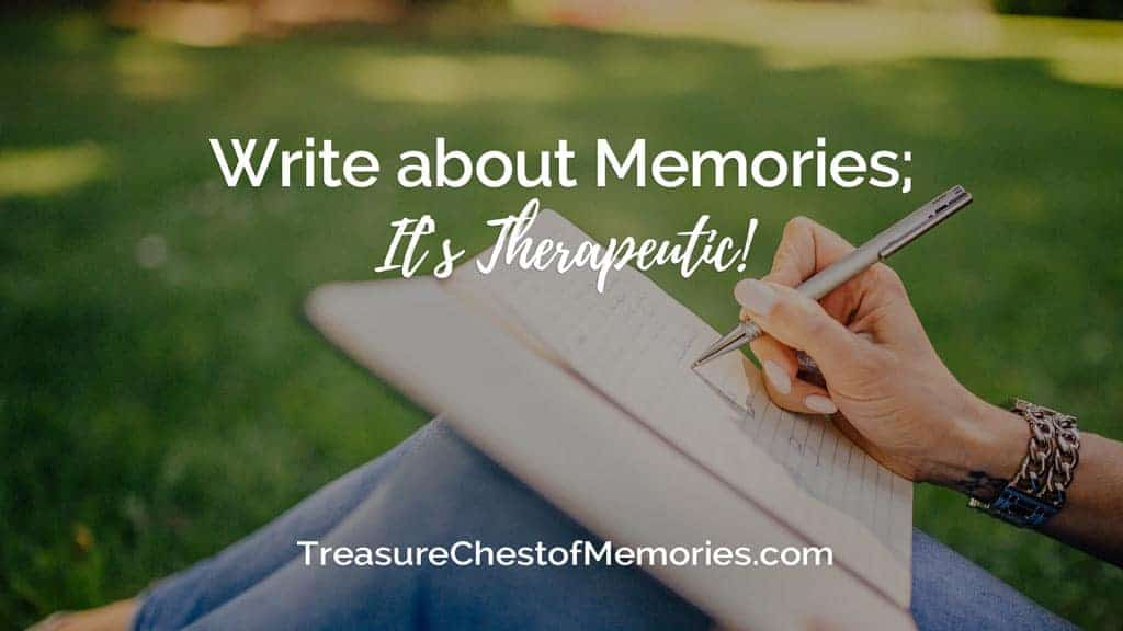 Headline graphic for Write about Memories with a person journaling outdoors