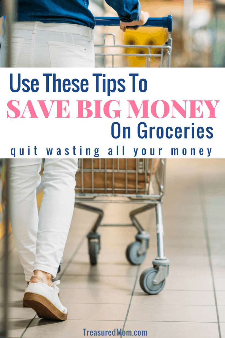 These are the best ways for families to save money on groceries.  If you're on a frugal living journey or not, these 10 simple tips will help you stay on budget. Get your FREE printable. Save hundreds of dollars every month. #savemoney #saveongroceries #treasuredmomblog #groceries