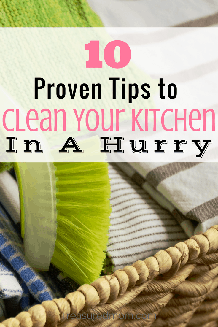 Proven kitchen cleaning tips to help you clean your kitchen in a hurry. Doing these things will get you out of the kitchen fast.