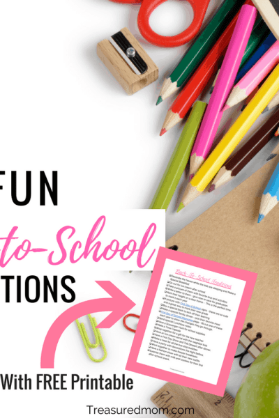 You can use these Back To School Traditions year after year. Help the kids celebrate with some back to school fun. Great free back to school ideas printout.