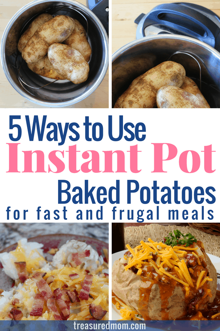 Instant Pot Baked Potatoes make great frugal and fast meals. There are 5 different ideas here. I think the first one is the best one for families - I know my kids would love it. If you're looking for simple pressure cooking recipes, you've got to check it out.