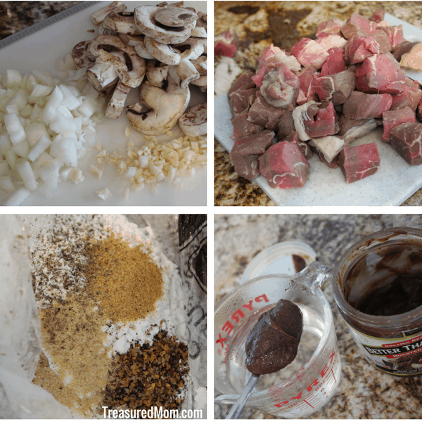 Instant Pot Beef Tips and Gravy Collage of spices, bouillon, onions, garlic, mushrooms, beef