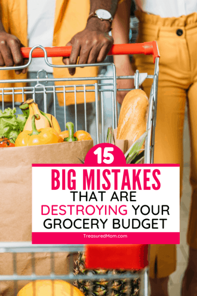 couple at grocery store with shopping cart of food for Grocery Shopping Mistakes article