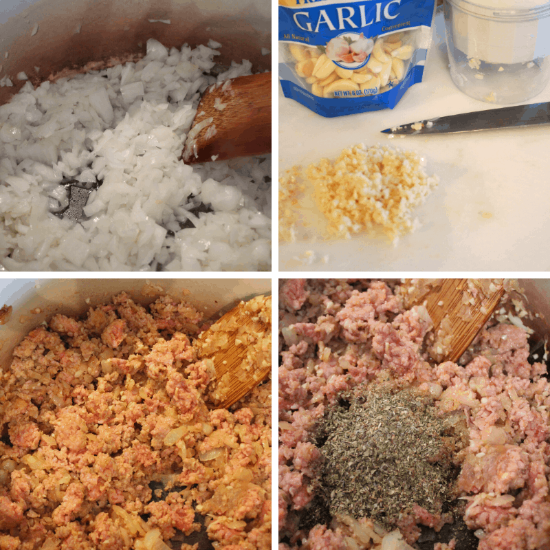 onions, garlic, italian sausage and italian seasoning for batch-cooked spaghetti sauce for the freezer
