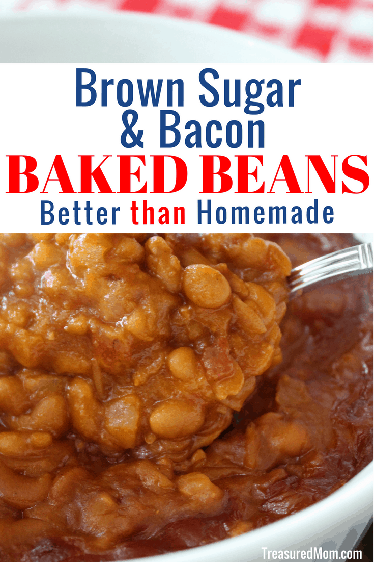 These Easy Brown Sugar and Bacon Baked Beans are better than scratch.  The quickest way to improve canned beans is this doctored up version that tastes just like homemade.  Have you tried making doctored up baked beans before? You will love this recipe.