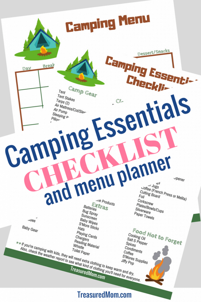 Camping Essentials Checklist and Camping Menu Planner for Camping Checklist Landing Page