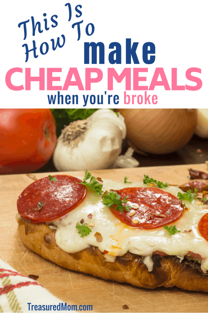 french bread pepperoni pizza on cutting board for Make Cheap Meals when you're broke post