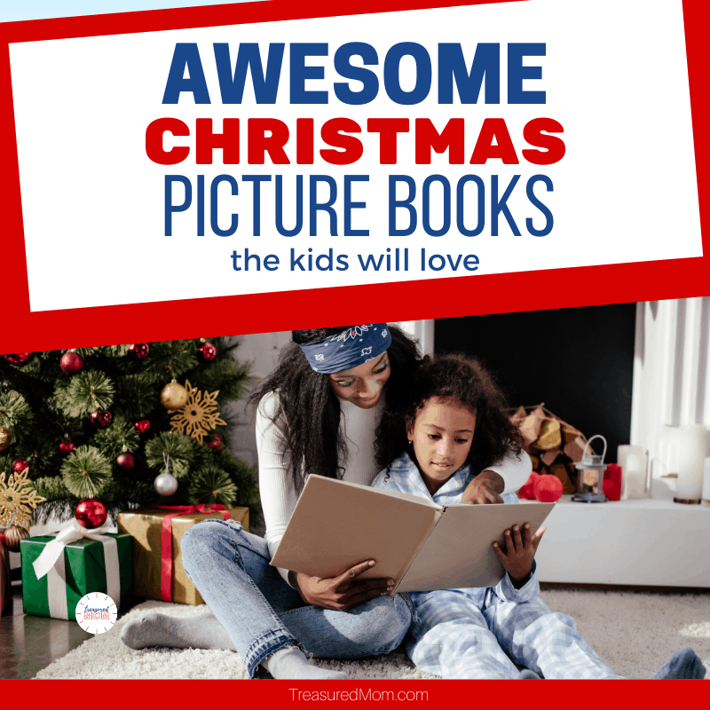 mother and daughter reading picture book near christmas tree