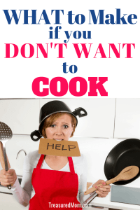Frustrated mom holding pan, help sign, and utensils for what to make when you don't want to cook post