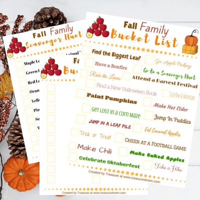 Printable Budget-Friendly Fall Activities for Families- Bucket List and Scavenger Hunt