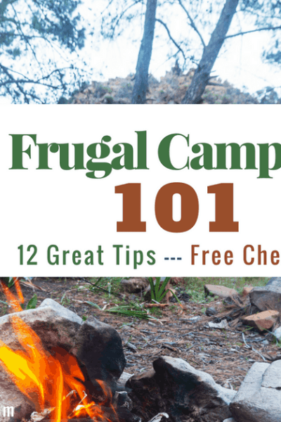 tent and campfire for Frugal Camping for families post